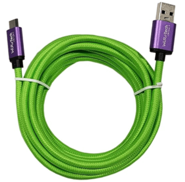 WiRoTech Purple & Lime Green USB-C to USB-A Fast Charging Cable
