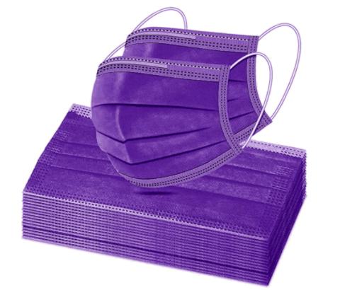 50 Pcs Solid Purple Disposable Face Masks